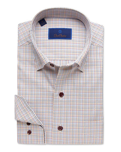 Men's Check Dress Shirt with Hidden-Button Collar