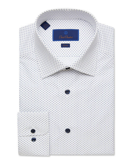 Image 1 of 2: David Donahue Men's Slim-Fit Gingham Check Dress Shirt