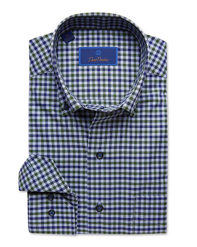 Men's Check Button-Collar Dress Shirt