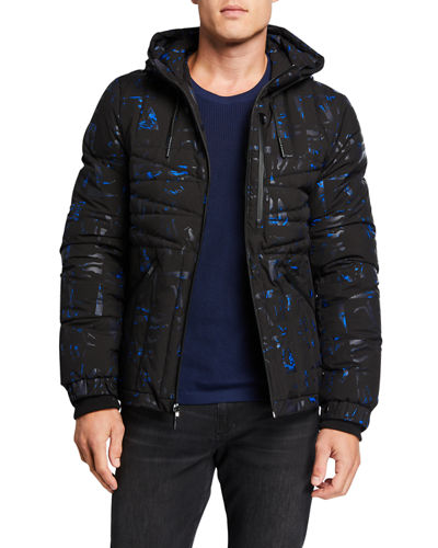 Men's Geometric Quilted Hooded Jacket