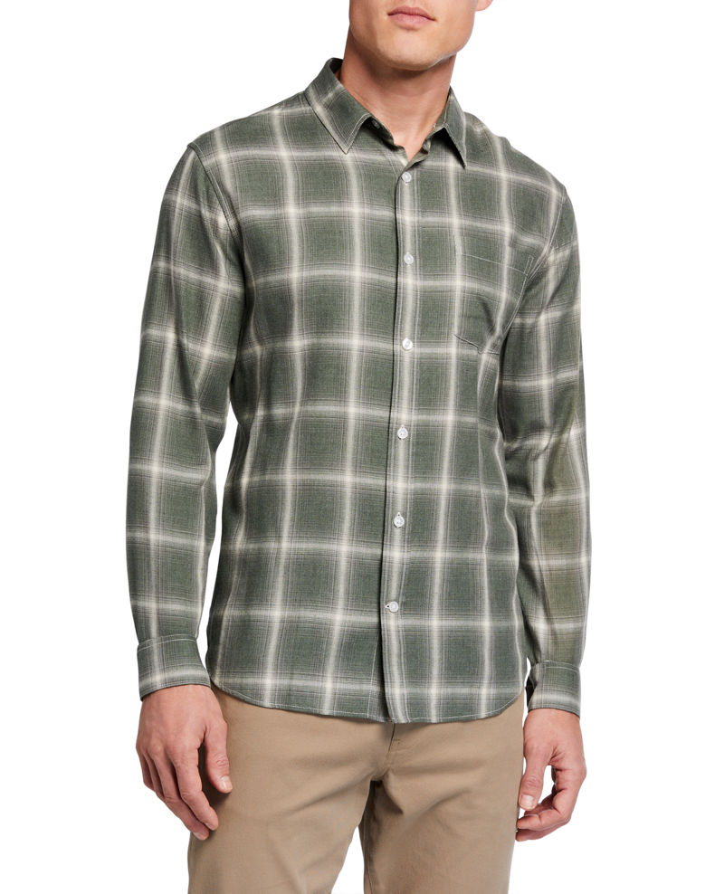 Vince Men's Shadow Plaid Sport Shirt