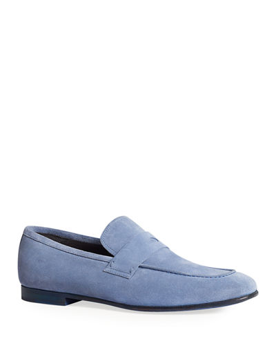 Men's Engine Turn Soft Suede Loafers