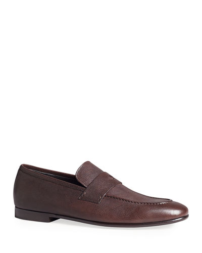 Men's Engine Turn Buffalo Leather Penny Loafers