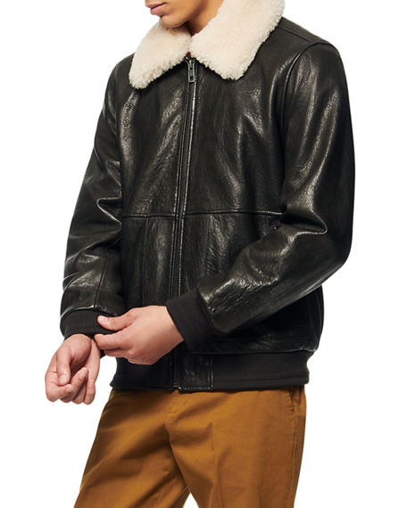 Image 2 of 4: Andrew Marc Men's Cuthbert Shearling-Trim Leather Jacket