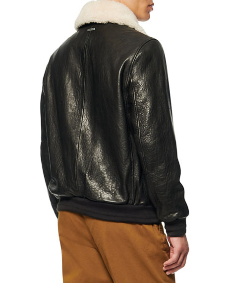 Image 3 of 4: Andrew Marc Men's Cuthbert Shearling-Trim Leather Jacket
