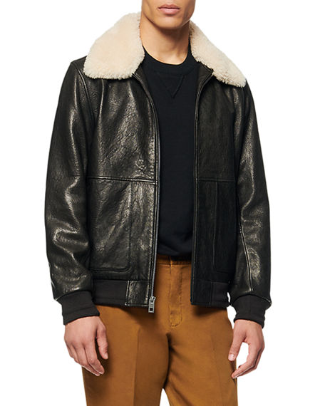 Image 1 of 4: Andrew Marc Men's Cuthbert Shearling-Trim Leather Jacket