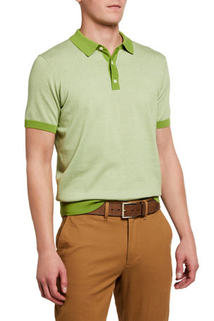 Neiman Marcus Men's Zigzag-Knit Polo Shirt