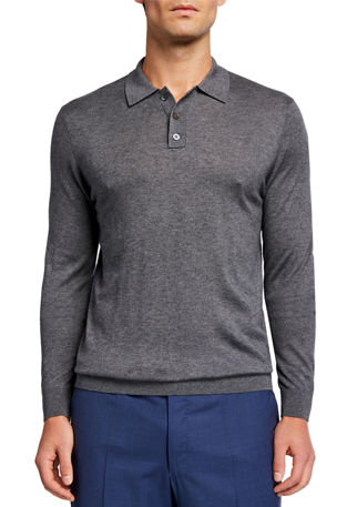 Neiman Marcus Cashmere Collection Men's Superfine Long-Sleeve Polo Sweater