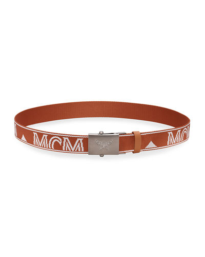 Men's Typographic Logo Web Belt