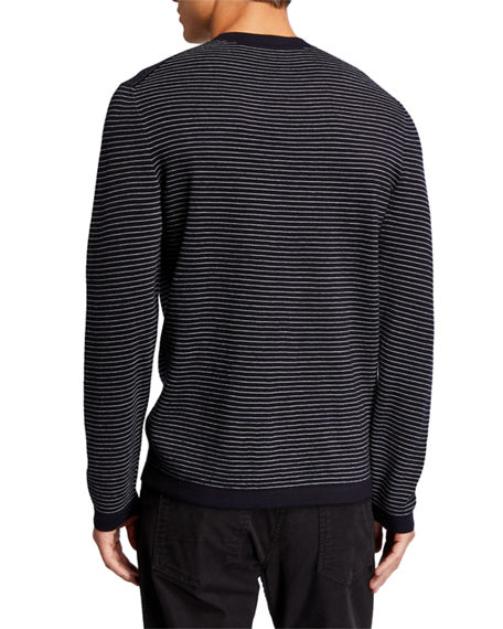 Image 2 of 2: Theory Men's Ollis Milos Striped Crewneck Sweater