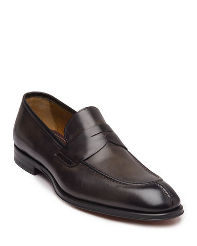 Men's Luigi Burnished Leather Penny Loafers