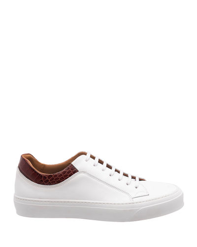 Bruno Magli Men's Oslo Burnished Leather Low-Top Sneakers