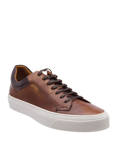 Men's Oslo Burnished Leather Low-Top Sneakers