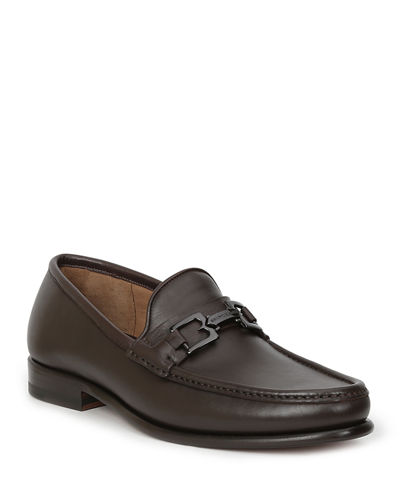 Men's Enzo Leather Moc-Toe Loafers