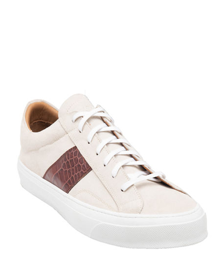 Bruno Magli Men's Onzo Suede/Croc-Embossed Leather Sneakers
