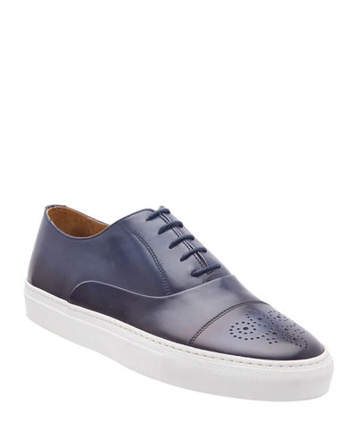 Men's Stefano Perforated Burnished Leather Sneakers