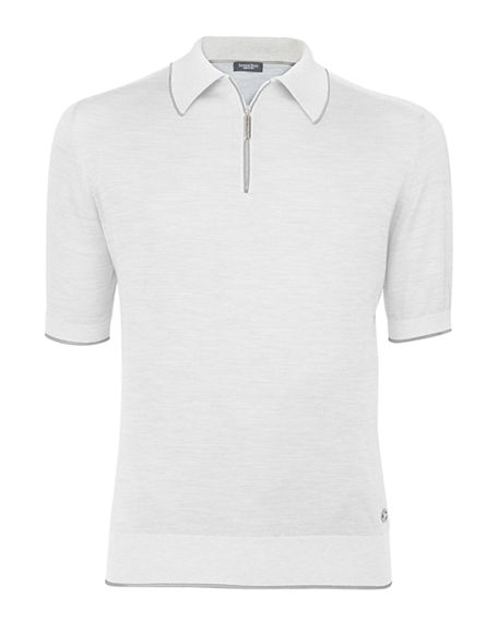 Image 1 of 2: Stefano Ricci Men's Zip-Front Knit Polo Shirt