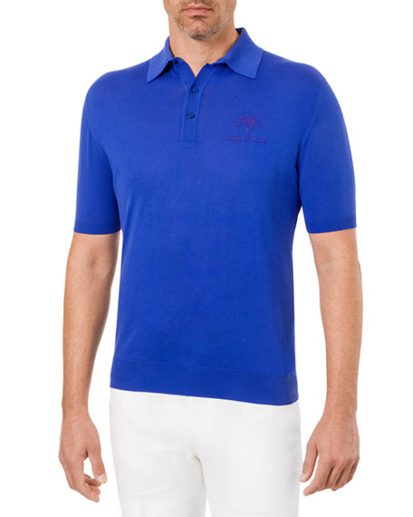Stefano Ricci Men's Knit Short-Sleeve Polo 3-Button Logo Detail