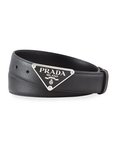 Men's Triangle Logo Leather Belt