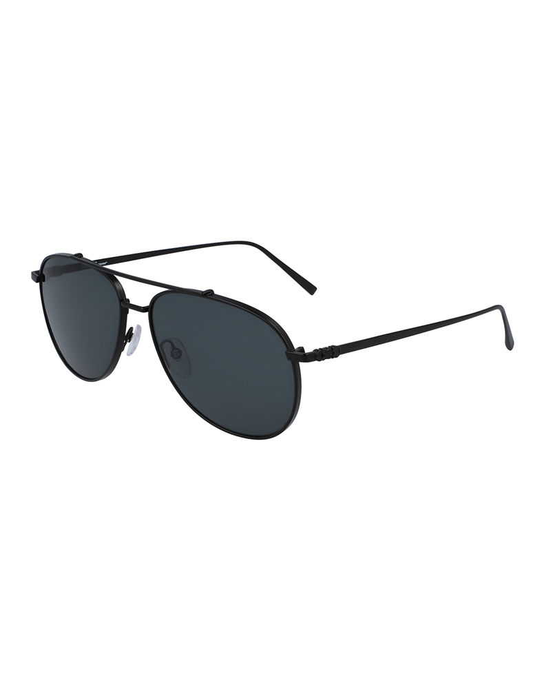 Salvatore Ferragamo Men's Double-Gancio Aviator Sunglasses