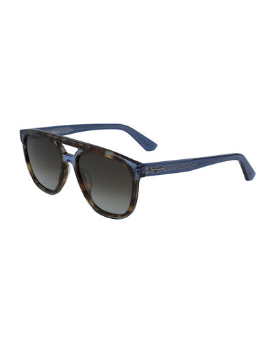Men's Classic Logo Two-Tone Navigator Sunglasses