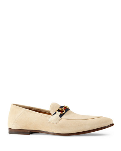 Men's Brixton Fold-Down Suede Web Horsebit Loafers