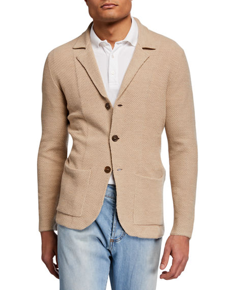 Image 1 of 3: Isaia Men's Merino Wool Cardigan Blazer