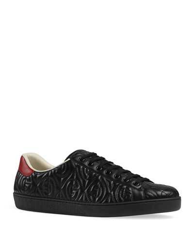 Men's Ace Rhombus Stitched GG Leather Sneakers