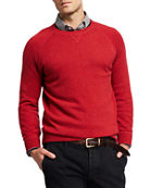 Brunello Cucinelli Men's Solid Cashmere Athletic Raglan Sweater