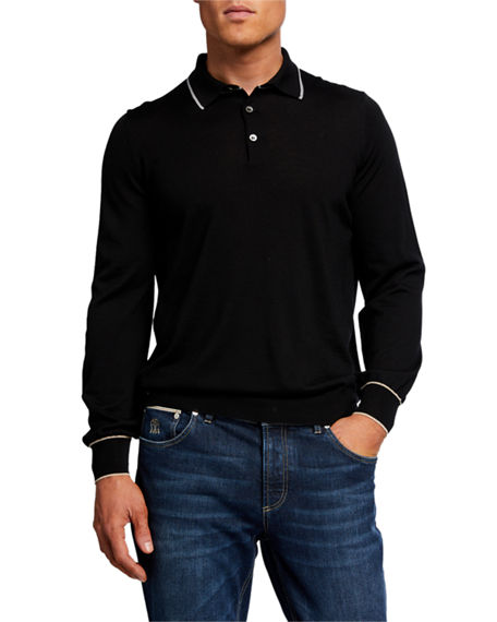 Brunello Cucinelli Men's Contrast Tipping Long-Sleeve Polo Shirt