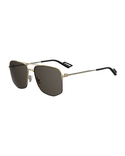 Men's Semi-Rimless Modern Navigator Metal Sunglasses
