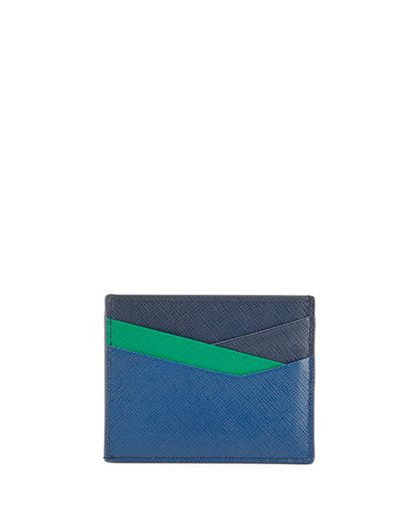 Prada Men's Saffiano Leather Contrast-Logo Card Case