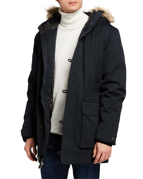 Fisher + Baker Men's Manitou Parka Coat with Fur Trim