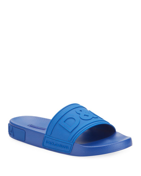Dolce & Gabbana Men's Logo-Embossed Rubber Slide Sandals