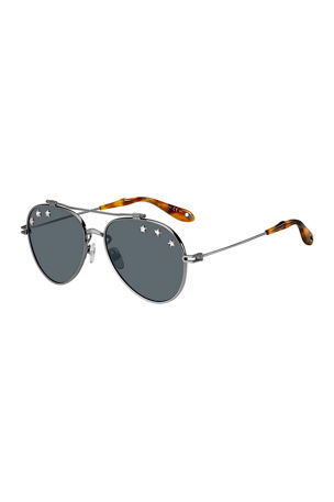 Givenchy Men's Star Studded Aviator Sunglasses