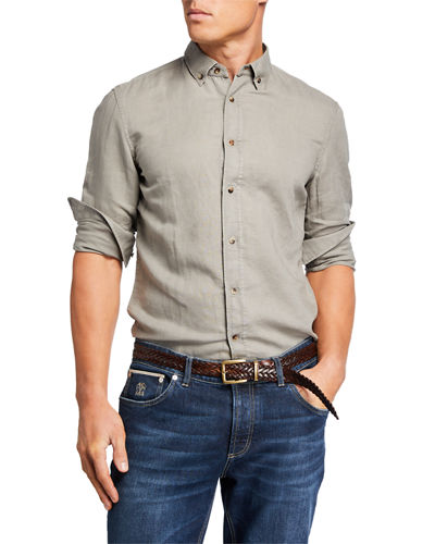 Brunello Cucinelli Men's Linen Sport Shirt