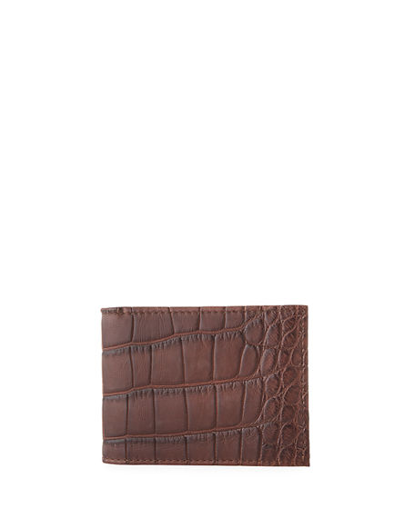 Abas Men's Matte Alligator Bifold Wallet
