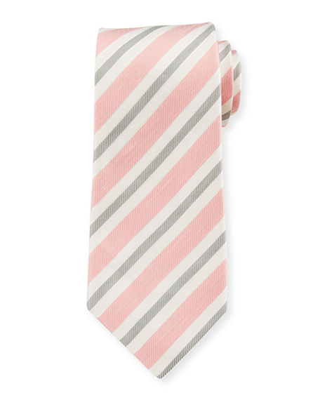 Isaia Men's Striped Silk-Linen Tie