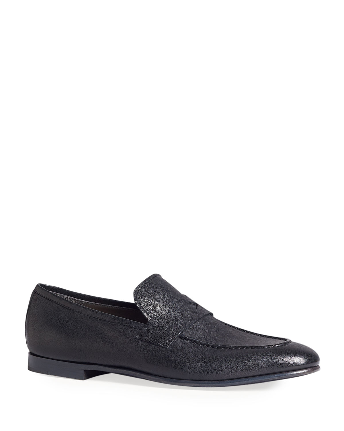 Dunhill Loafers MEN'S ENGINE TURN BUFFALO LEATHER PENNY LOAFERS