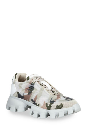 Prada Men's Rubber Knit Camouflage Sneakers