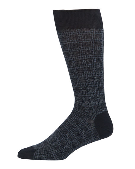 Neiman Marcus Men's Box Plaid Wool-Blend Socks