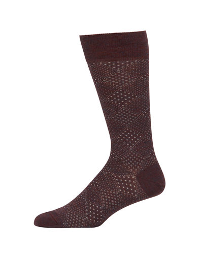 Neiman Marcus Men's Diamond Pindot Wool-Blend Socks
