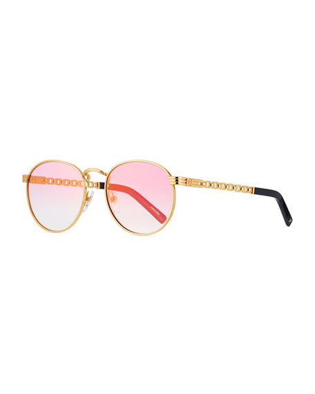 Image 1 of 3: Vintage Frames Company Men's Equestrian Miami Vice Gold-Plated Round Sunglasses