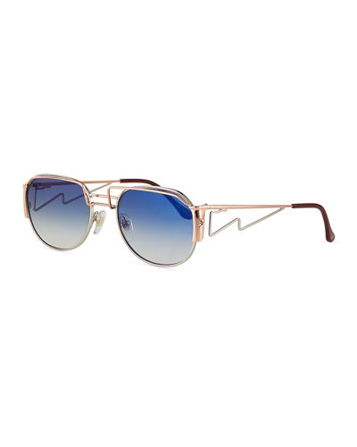 Men's Gradient Geometric Metal Sunglasses