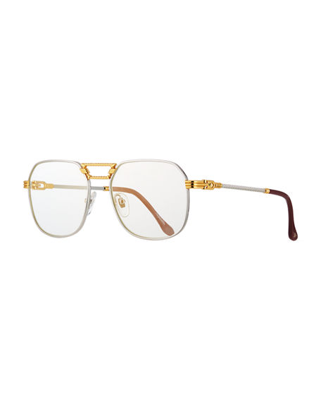 Image 1 of 3: Vintage Frames Company Men's CEO Textured Gold-Plated Gradient Sunglasses