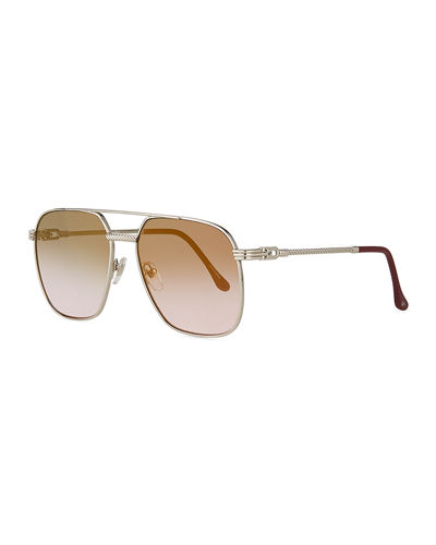 Men's Narcos White Gold-Plated Gradient Sunglasses