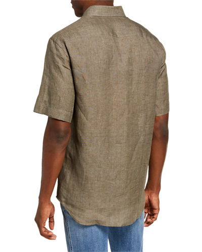 Brioni Men's Solid Linen Sport Shirt