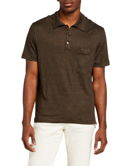 Brioni Men's Solid Linen Polo Shirt