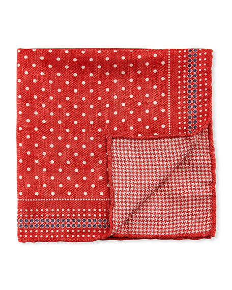Brunello Cucinelli Men's Reversible Dots/Houndstooth Pocket Square