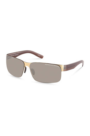 Porsche Design Men's Purism Half-Rim Wrap Sunglasses